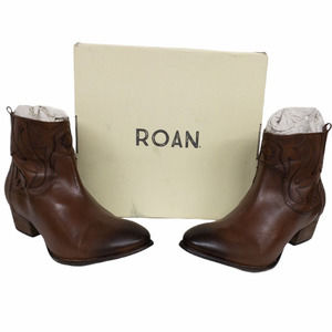 Roan Elsia Tan Burnished Western Ankle Boots 10